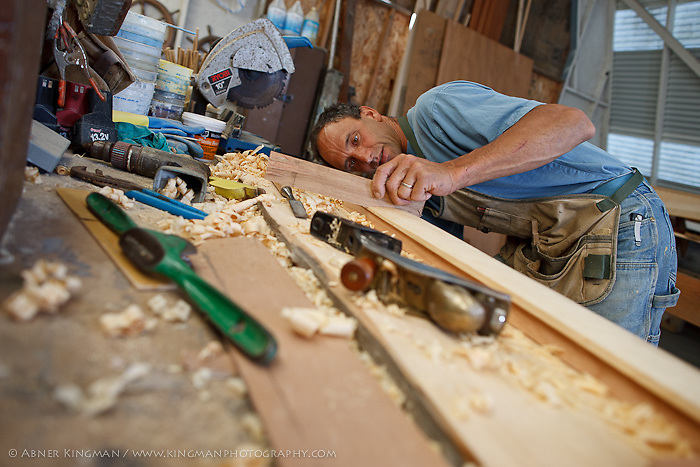 Jeremy Fisher-Smith building a one person version of the Viking Class rowboat in Marshall, CA for the Dolphin Club of San Francisco