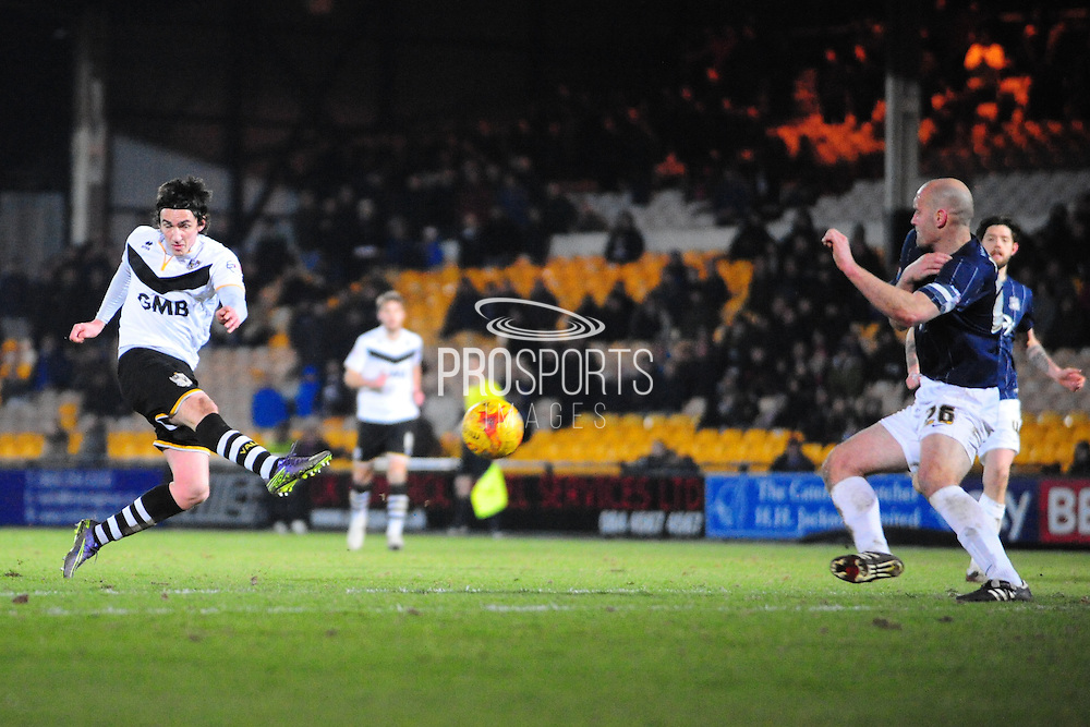 Louis Dodds of Port Vale FC lets fly during the Sky Bet League 1 match between Port Vale and Southend United at Vale Park, Burslem, England on 26 February 2016. Photo by Mike Sheridan.