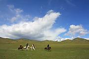TERELJ, MONGOLIA..09/04/2001.Horse riding..(Photo by Heimo Aga)