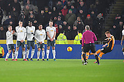 Hull City midfielder Sam Clucas (11) takes free kick during the EFL Cup semi final match 2 between Hull City and Manchester United at the KCOM Stadium, Kingston upon Hull, England on 26 January 2017. Photo by Ian Lyall.