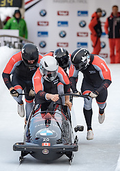 17.12.2017, Olympia Eisbahn, Igls, AUT, BMW IBSF Weltcup und EM, Igls, Viererbob, 1. Lauf, im Bild Nick Poloniato, Derek Plug, Lascelles Brown, Ben Coakwell (CAN) // Pilot Nick Poloniato with Derek Plug Lascelles Brown Ben Coakwell of Canada during 1st run of four-man Bobsleigh competition of BMW IBSF World Cup and European Championship at the Olympia Eisbahn in Igls, Austria on 2017/12/17. EXPA Pictures © 2017, PhotoCredit: EXPA/ Johann Groder