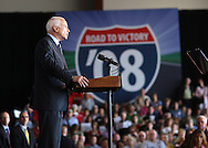 US Republican presidential nominee Senator John McCain (R-AZ) speaks at a campaign rally in Cedar Rapids, Iowa, September 18, 2008.