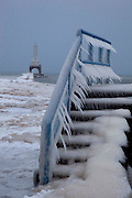 Icicles form on a walkway along Lake Michigan in Port Washington, Wi., Tuesday, Feb. 1, 2011.  (AP Photo/Jeffrey Phelps)