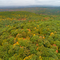 Drone view of  forest on Mount Eleanor and Rattlesnake Mountain in New Durham, New Hampshire.