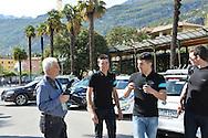 40a Edizione del Giro del Trentino Melinda conferenza Stampa degli Atleti,a sinistra il Fotografo Remo Mosna e Gianni Moscon, Arco 18 Aprile 2016 © foto Daniele Mosna