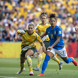 June 12, 2019 - Montpellier, França - MONTPELLIER, PL - 12.06.2019: BRAZIL VS AUSTRALIA - Steph Catley (vc) from Australia and Cristiane from Brazil during a match between Australia and Brazil, valid for the 2019 FIFA Women&#3World Cup,Cup, held on Thursday, June 13, 2019, at Mosson Stadium in Montpellier, France. (Credit Image: © Richard Callis/Fotoarena via ZUMA Press)