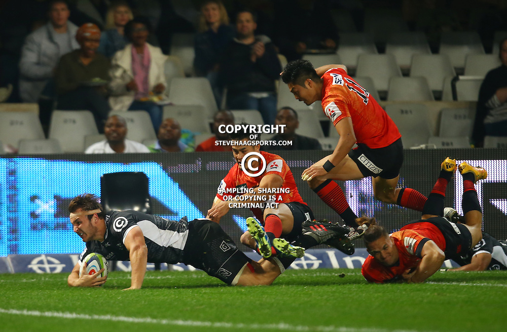 DURBAN, SOUTH AFRICA - JULY 15: Andre Esterhuizen of the Cell C Sharks over for a try during the Super Rugby match between the Cell C Sharks and Sunwolves at Growthpoint Kings Park on July 15, 2016 in Durban, South Africa. (Photo by Steve Haag/Gallo Images)
