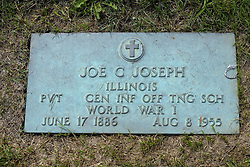 31 August 2017:   Veterans graves in Park Hill Cemetery in eastern McLean County.<br /> <br /> Joe C Joseph  Illinois Private CEN INF OFF TNG SCH  World War I  June 17 1886  Aug 8 1955