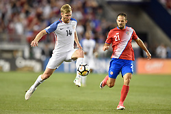 September 1, 2017 - Harrison, New Jersey, U.S - USMNT defender TIM REAM (14) passes the ball in front of Costa Rica forward MARCO UREÃ'A (21) during a World Cup Qualifier at Red Bull Arena in Harrison New Jersey Costa Rica defeats USA 2 to 0 (Credit Image: © Brooks Von Arx via ZUMA Wire)