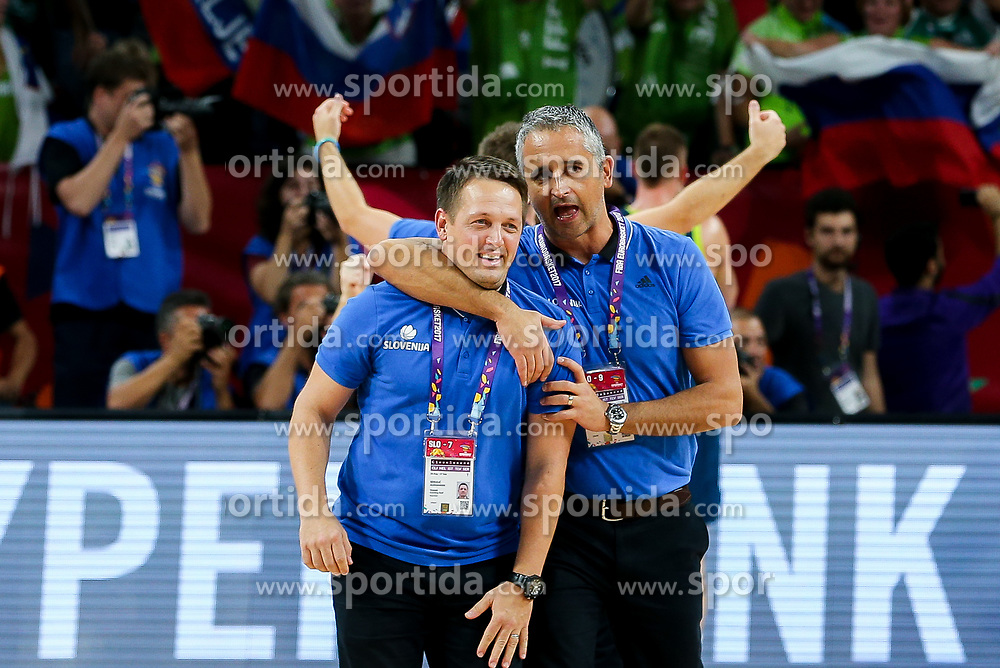 Aleksander Sekulic, assistant coach of Slovenia and Igor Kokoskov, coach of Slovenia celebrate after winning during basketball match between National Teams of Slovenia and Spain at Day 15 in Semifinal of the FIBA EuroBasket 2017 at Sinan Erdem Dome in Istanbul, Turkey on September 14, 2017. Photo by Vid Ponikvar / Sportida