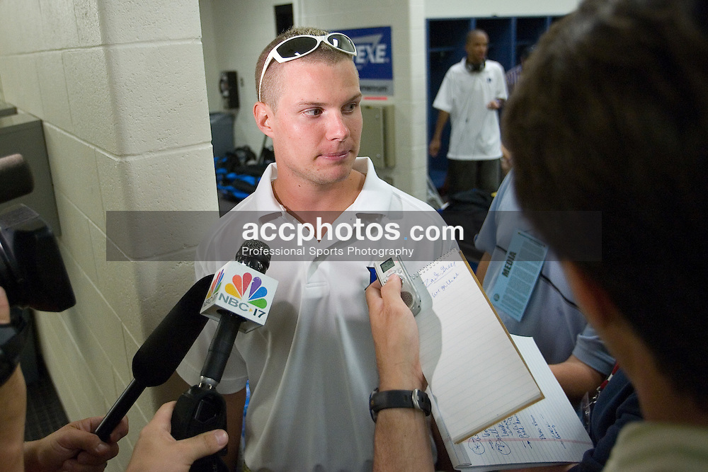 26 May 2007: Duke Blue Devils attackman Zack Greer (25) talks with media in the locker room after a 12-11 win over the Cornell Big Red in the NCAA Semifinals at M&T Bank Stadium in Baltimore, MD.