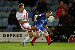 Gwion Edwards of Peterborough United gets a cross in past Callum Brittain of Milton Keynes Dons - Mandatory by-line: Joe Dent/JMP - 12/09/2017 - FOOTBALL - ABAX Stadium - Peterborough, England - Peterborough United v Milton Keynes Dons - Sky Bet League One