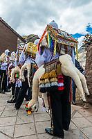 Pisac, Peru - July 16, 2013: dancers at Virgen del Carmen parade in the peruvian Andes at Pisac Peru on july 16th, 2013