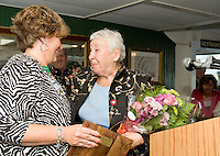 Jackie O'Rourke is honored with the Hurst Award at the Chamber of Commerce's 3rd annual Mix 'n Mingle onboard the MS Mount Washington May 27, 2010.  (Karen Bobotas/for the Laconia Daily Sun).
