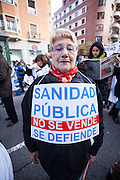 Female protester with placard,Madrid.