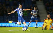 Brighton winger, Jamie Murphy shoots during the Sky Bet Championship match between Brighton and Hove Albion and Rotherham United at the American Express Community Stadium, Brighton and Hove, England on 15 September 2015.