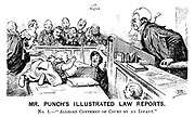 "Mr Punch's Illustrated Law Reports. No 1.- Alleged contempt of court by an infant."" (a Victorian cartoon shows a baby making faces at a judge)"