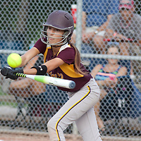 Cassidy Scott, first baseman for the Brampton Blazers U14 team, at bat against Guelph on August 15 in the Canadian Fastpitch Championships.