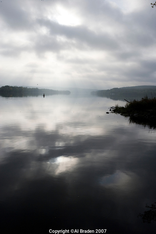 Morning mist over Connecticut River, Haddam Meadows State Park, Haddam, CT