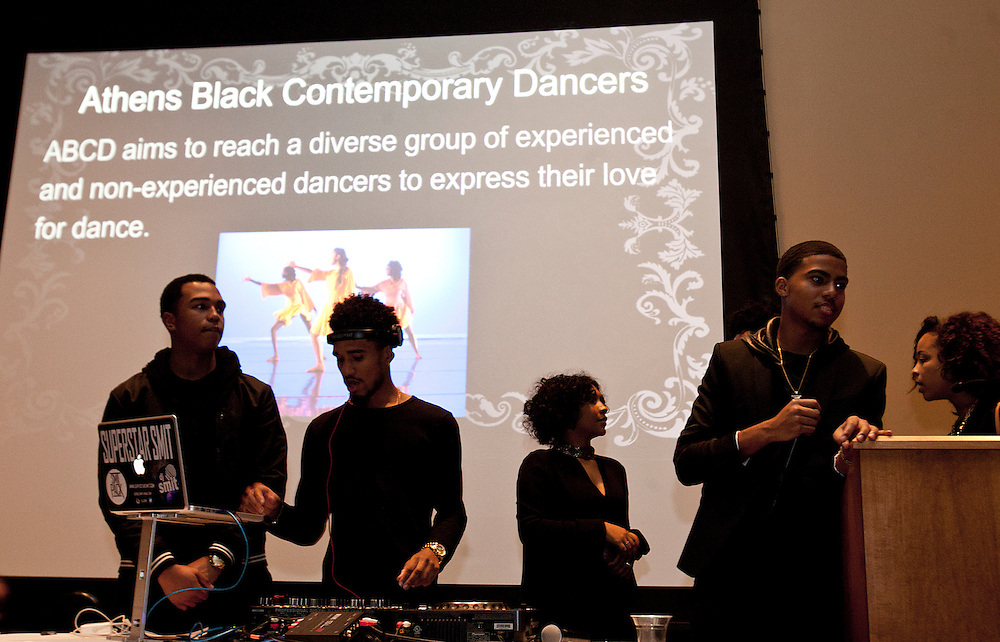 Campus organizations and descriptions are displayed during the All Black Affair at Baker University Center Ballroom at Ohio University on Friday, January 29, 2016. © Ohio University / Photo by Sonja Y. Foster