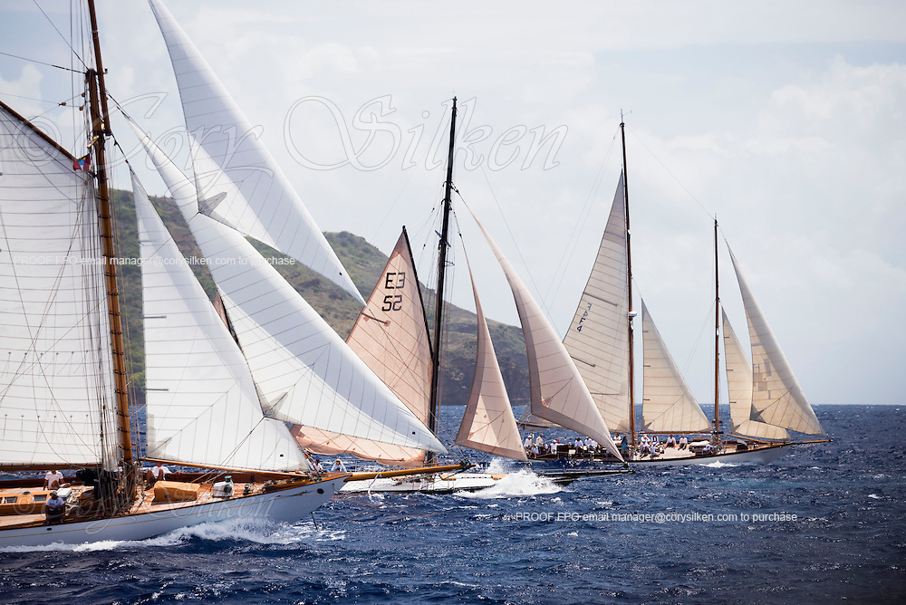 Adventuress, Kate, and Mary Rose sailing in the Antigua Classic Yacht Regatta, Old Road Race.