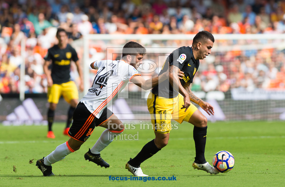 Jose Luis Gaya of Valencia CF and Angel Correa of Atletico Madrid during the La Liga match at Mestalla, Valencia<br /> Picture by Maria Jose Segovia/Focus Images Ltd +34 660052291<br /> 02/10/2016