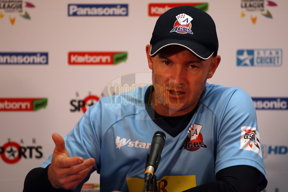 Gareth Hopkins during the press conference after match 5 of the Karbonn Smart CLT20 South Africa between Kolkata Knight Riders and Auckland Aces held at Sahara Park Newlands, South Africa on the 15th October 2012. Photo by Jacques Rossouw/SPORTZPICS/CLT20