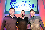 Julian Speroni, Paddy MCarthy and James Scowcroft strike a poseThe gloves are off. An Evening With Julian Speroni at  at Fairfields Hall, Croydon, United Kingdom on 20 January 2015. Photo by Michael Hulf.