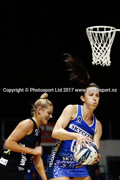 Bailey Mes of the Mystics wins the ball against Alex Macleod-Smith of the Magic. 2017 ANZ Premiership netball match, Northern Mystics v Waikato BOP Magic at The Trusts Arena, Auckland, New Zealand. 16 April 2017 © Copyright Photo: Anthony Au-Yeung / www.photosport.nz