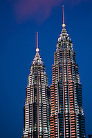 Petronas Twin Towers at dusk.