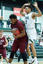 17 November 2017:  Kevin Gamble grabs a rebound in front of Miles Curry during an College men's division 3 CCIW basketball game between the Alma Scots and the Illinois Wesleyan Titans in Shirk Center, Bloomington IL