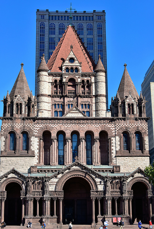 Trinity Church in Copley Square in Boston, Massachusetts  <br /> The Trinity Church is the centerpiece of Copley Square in the Back Bay of Boston.  Built in 1877, it is considered to be one of the ten most significant buildings in the United States by the American Institute of Architects.
