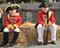 Thomas and Sean Dunne from Monasterevin, Co Kildare  young redcoats taking part In Humberts Footsteps reactment on the streets of Castlebar on sunday.<br /> Pic Conor McKeown