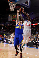 Real Madrid's Othello Hunter and Maccabi Fox's Maik Zirbes during Turkish Airlines Euroleague match between Real Madrid and Maccabi at Wizink Center in Madrid, Spain. January 13, 2017. (ALTERPHOTOS/BorjaB.Hojas)