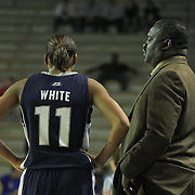Georgetown Head Coach Keith Brown (Right) talks to Georgetown Forward Andrea White (11) during a timeout of Quarterfinals Women's National Invitation Tournament Preseason game against Delaware Sunday, Nov. 11, 2012 at the Bob Carpenter Center in Newark Delaware.
