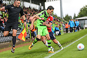 York City's Simon Heslop(8) commits a foul on Forest Green Rovers Mohammed Chemlal (25) and  is is shown a red card, sent off during the Vanarama National League match between Forest Green Rovers and York City at the New Lawn, Forest Green, United Kingdom on 20 August 2016. Photo by Shane Healey.