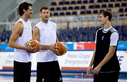 Jurica Golemac, Goran Jagodnik and Goran Dragic  of Slovenia during the practice session, on September 12, 2009 in Arena Lodz, Hala Sportowa, Lodz, Poland.  (Photo by Vid Ponikvar / Sportida)