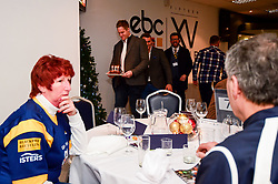 Jamie Shillcock and GJ Van Velze present a cake to Paul Ward for his birthday - Mandatory by-line: Ryan Hiscott/JMP - 15/12/2018 - RUGBY - Sixways Stadium - Worcester, England - Worcester Warriors v Pau - European Rugby Challenge Cup