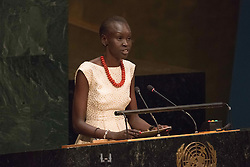 September 16, 2016 - New York, NY, United States - Alek Wek addresses thew General Assembly. Three days before the opening of the United Nations high-level Summit on Addressing Large Movements of Migrants and Refugees (September 19), Actor Ben Stiller and former refugee celebrities presented a petition from the #WithRefugees campaign to the UN.  On behalf of the UN, Secretary-General Ban Ki-moon and UN High Commissioner for Refugees Filippo Grandi participated in the event. (Credit Image: © Albin Lohr-Jones/Pacific Press via ZUMA Wire)