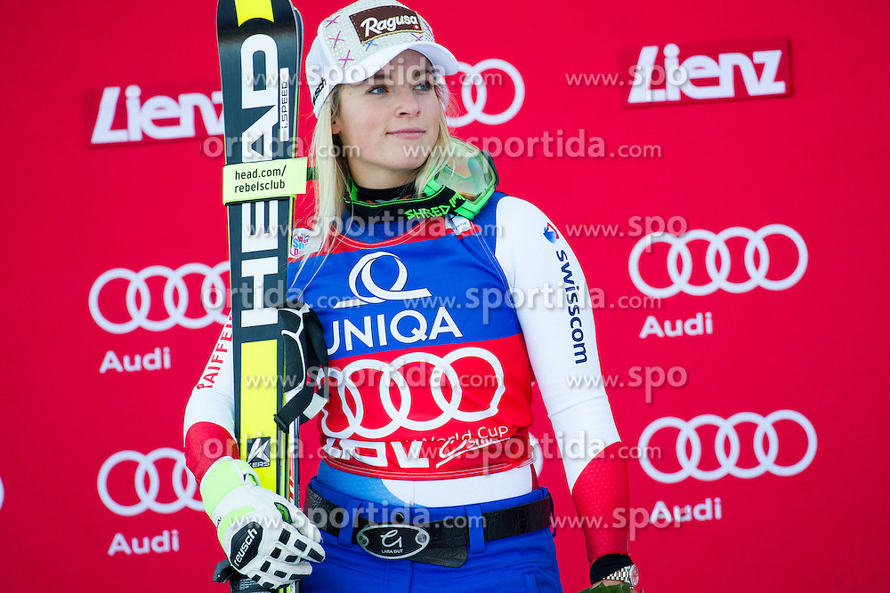 28.12.2015, Hochstein, Lienz, AUT, FIS Ski Weltcup, Lienz, Riesenslalom, Damen, Siegerehrung, im Bild Lara Gut (SUI, 1. Platz) // Winner Lara Gut of Switzerland during award ceremony after ladies Giant Slalom of the Lienz FIS Ski Alpine World Cup at the Hochstein in Lienz, Austria on 2015/12/28. EXPA Pictures © 2015, PhotoCredit: EXPA/ Michael Gruber