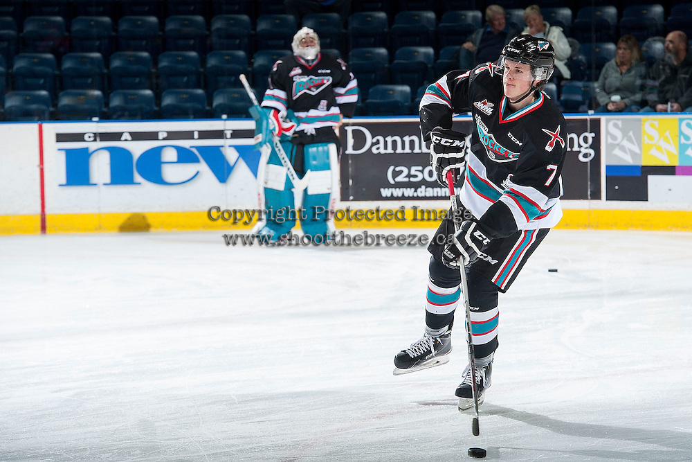 KELOWNA, CANADA - OCTOBER 23: Lucas Johansen #7 of Kelowna Rockets shoots the puck during warm up against the Prince George Cougars on October 23, 2015 at Prospera Place in Kelowna, British Columbia, Canada.  (Photo by Marissa Baecker/Shoot the Breeze)  *** Local Caption *** Lucas Johansen;