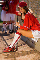 Softball Player Waiting to Bat