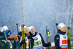 March 16, 2019 - –Stersund, Sweden - 190316 Tarjei Bø, Vetle SjÃ¥stad Christiansen and  Lars Helge Birkeland of Norway celebrate after the Men's 4x7,5 km Relay during the IBU World Championships Biathlon on March 16, 2019 in Östersund..Photo: Johan Axelsson / BILDBYRÃ…N / Cop 245 (Credit Image: © Johan Axelsson/Bildbyran via ZUMA Press)