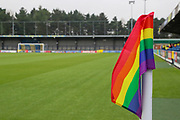 Kingsmeadow/ Cherry Red Records Stadium with rainbow corner flag during the EFL Sky Bet League 1 match between AFC Wimbledon and Gillingham at the Cherry Red Records Stadium, Kingston, England on 23 November 2019.