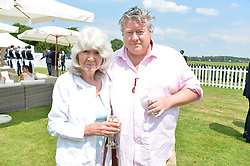 Jilly Cooper and Felix Cooper at Cartier Queen's Cup Polo, Guard's Polo Club, Berkshire, England. 18 June 2017.<br /> Photo by Dominic O'Neill/SilverHub 0203 174 1069 sales@silverhubmedia.com