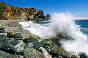Boulders and crashing surf, Lime Kiln State Park, Big Sur, California USA