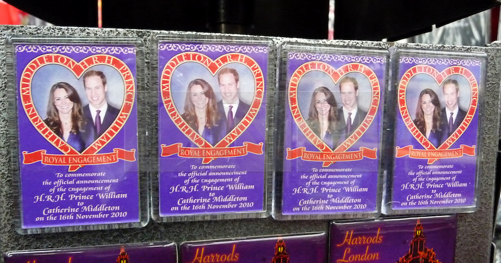 © under license to London News Pictures.  .William and Kate souvenirs ahead of the Royal Wedding in April 2011..Fridge Magnets of the Royal Couple..Photo credit should read Craig Shepheard / London News Pictures