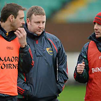 6 January 2013; Carlow manager Anthony Rainbow, right, in conversation with selectors Sean Kavanagh, left, and Adrian Corcoran at half time. Bórd na Móna O'Byrne Cup, Group B, Carlow v Dublin, Dr. Cullen Park, Carlow. Picture credit: Ray McManus / SPORTSFILE