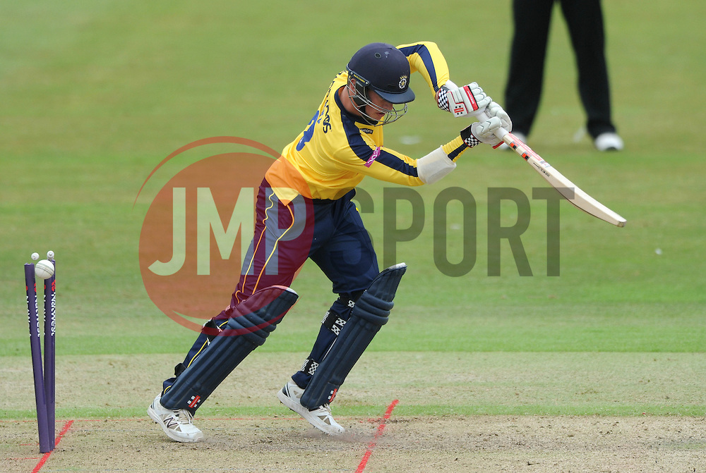 Caption Correction: Sean Terry of Hampshire is bowled by Tom Smith of Gloucestershire for 1  - Photo mandatory by-line: Dougie Allward/JMP - Mobile: 07966 386802 - 14/07/2015 - SPORT - Cricket - Cheltenham - Cheltenham College - Natwest T20 Blast