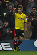 Picture by David Horn/Focus Images Ltd +44 7545 970036.09/03/2013.Cristian Battocchio of Watford celebrates scoring his side's first goal during the npower Championship match at Vicarage Road, Watford.